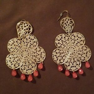 Gold earrings with pink accents never worn